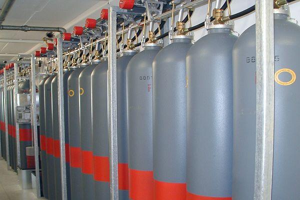Argongas-Flaschen der Brandschutz-Anlage